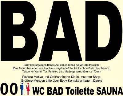 Bad Toilette Tattoo Aufkleber Sticker Badezimmer 00 WC Tür Hinweis Türaufkleber