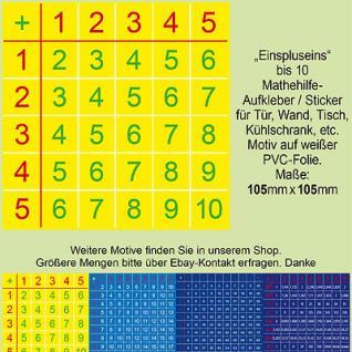 Aufkleber Rechenhilfe Mathe Tabelle Lernhilfe Lernwerkstatt 1 2 3 4 5 6 7 8 9 10
