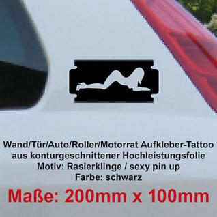 Rasierer Rasierklinge sexy pin up girl Auto Deko Tuning Folie Autoaufkleber sign