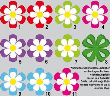 Wandtattoo Kinderzimmerdekoration Wandsticker Blümchen Blume Blüten 3-farbig