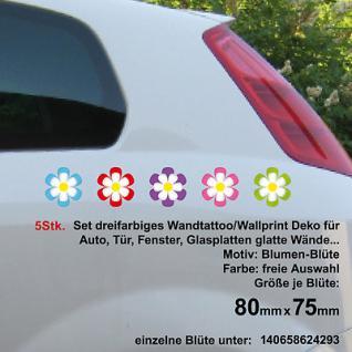 5Stk Set Wandtattoo 3 farbig Auto Aufkleber Deko Folie Autoaufkleber Blümchen