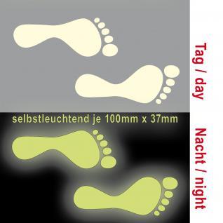 3 Paar 6 Füße 10cm Fuß Abdruck Aufkleber die cut Deko Folie leuchten im Dunkeln