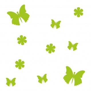 10 Stück grün Schmetterlinge & Blumen Auto Aufkleber Tattoo die cut Deko Folie