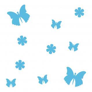 10 Stück blau Schmetterlinge & Blumen Auto Aufkleber Tattoo die cut Deko Folie