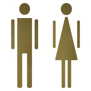 Aufkleber gold 12cm Mann Frau Toilette WC Bad Tür Hinweis Deko Folie die cut