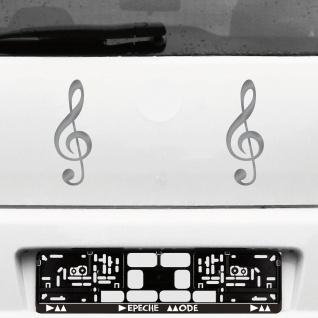 2 Stück 20cm silber Violinschlüssel Auto Fenster Tür Aufkleber Tattoo Deko Folie
