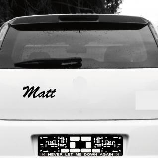 Matt 21cm schwarz Name Auto Fenster Tür Heck Aufkleber Tattoo die cut Deko Folie