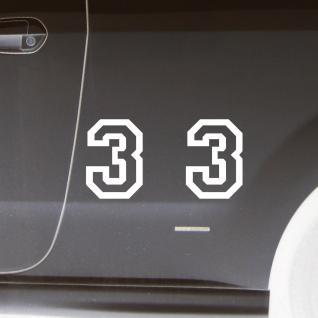 2 Stk. Aufkleber Tattoo Folie Startnummer 3 racing Nummer Zahl Ziffer 15cm weiß