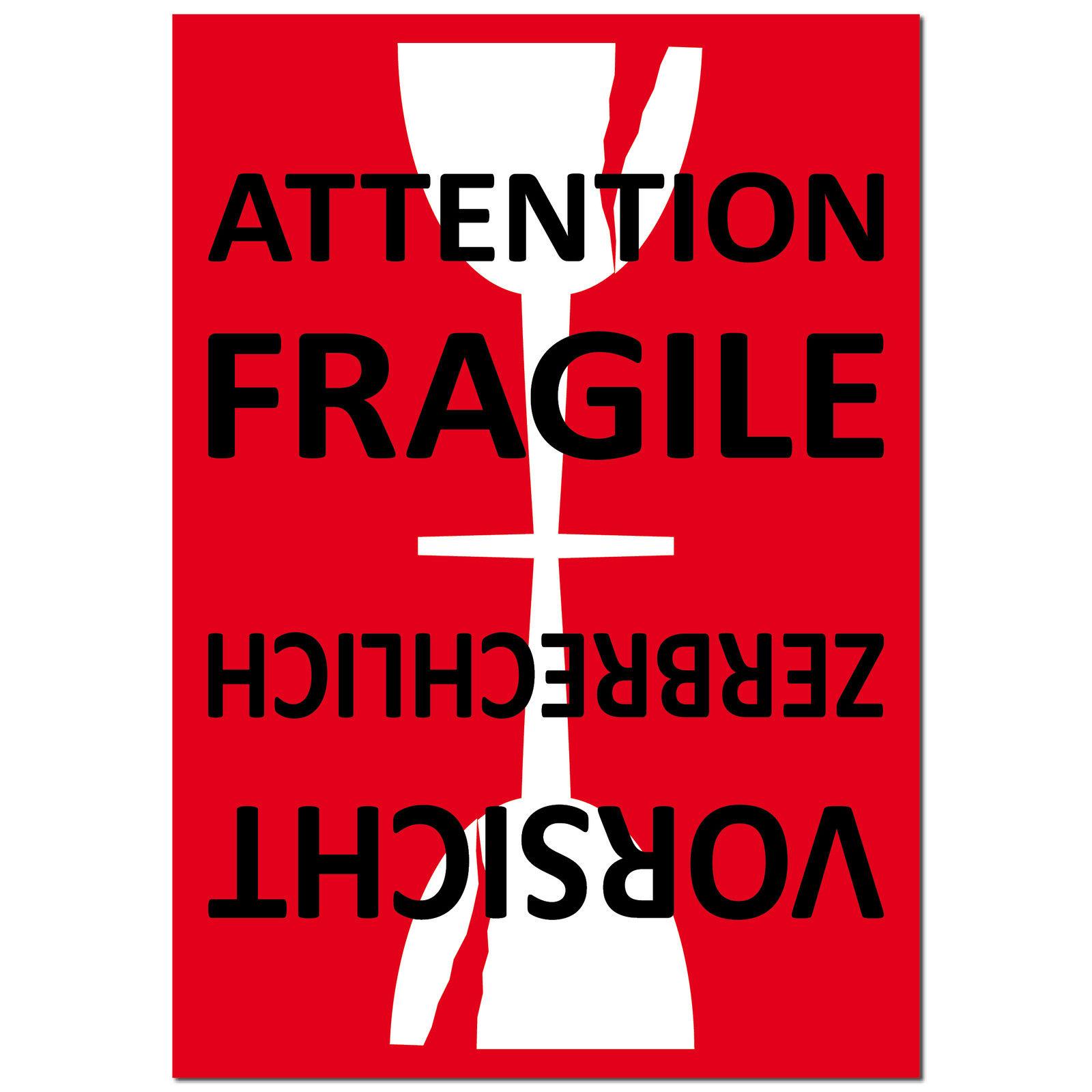 aufkleber sticker etikett label attention fragile glass. Black Bedroom Furniture Sets. Home Design Ideas