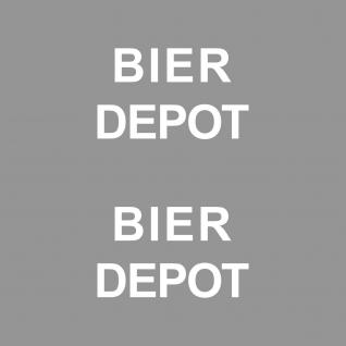 2 Stück Bier Depot 10cm weiß Aufkleber Tattoo Deko Folie Kühlschrank Küche Tür