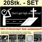 20 x Autoaufkleber Warnung Aufkleber Sticker dont don't drive with LSD THC Drugs