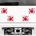 4 Stück rot Farb Kleckse Tupfer Spritzer Aufkleber Tattoo die cut Deko Folie