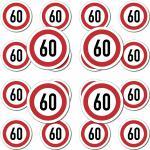 20 Stück Modellbau Aufkleber Sticker Symbol Schild Geschwindigkeit 60kmh km/h