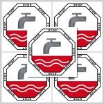 5 Stück 5cm STOP Aufkleber Sticker WC Bad 00 Toilette Wasser Spülung Spülkasten