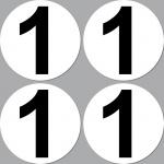4 Aufkleber Startnummer 1 rund 10cm Racing Motorrad Motocross Auto Nummerierung