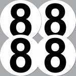4 Pcs Car Bike Boat Motorcycle Racing Numbers 1 2 3 4 5 6 7 8 9 vinyl Stickers