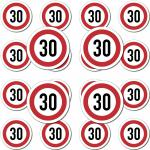 20 Stück Modellbau Aufkleber Sticker Symbol Schild Geschwindigkeit 30kmh km/h
