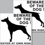 2 Stück Aufkleber Sticker beware of the big dog Vorsicht vor dem Hund Hunde