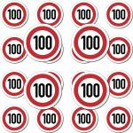20 Stück Modellbau Aufkleber Sticker Symbol Schild Geschwindigkeit 100kmh km/h