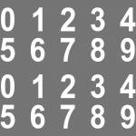 100 Stück Set 2cm weiß Ziffern Zahlen Nummern Aufkleber die cut Tattoo Folie