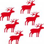 6 Rudolph the Red Nose Reindeer christmas Home Shop Window die cut decal sticker