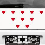 10 Stück 5cm rot Herz Herzen Aufkleber die cut Tattoo Auto Fenster Deko Folie