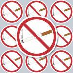 10 Aufkleber 4cm rund Sticker Nichtraucher Rauchverbot Rauchen Verboten Hinweis