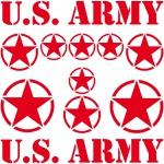 Set Sterne Schrift rot US Army NAVY MP Auto Aufkleber Tattoo die cut Deko Folie