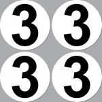 4 Aufkleber Startnummer 3 rund 10cm Racing Motorrad Motocross Auto Nummerierung