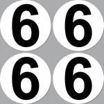 4 Aufkleber Startnummer 6 rund 10cm Racing Motorrad Motocross Auto Nummerierung