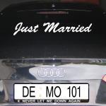 just married Hochzeit Wandtattoo Heck Folie Autoaufkleber Aufkleber decal Tattoo