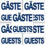 5 Stück Aufkleber Sticker GÄSTE GUESTS für Bad & WC Fliesenaufkleber Handtuch