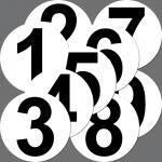 9 Stück Set Aufkleber 10cm Sticker Nummern 1 bis 9 Startnummern Zahlen Ziffern