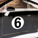 4 Aufkleber 20cm Sticker Startnummer 6 Auto Seiten Tür Nummern Racing Rennsport