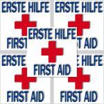 5 Stk. Aufkleber Sticker 1.Hilfe erste Hilfe Hinweis Zeichen für Kasten Schrank