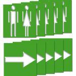 10 Stück 10cm WC Mann Frau + Pfeil Aufkleber Sticker Hinweis Toilette Wegweiser