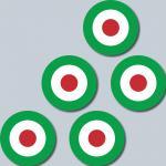 5 Aufkleber 4cm Sticker sign Italien Italy Target Mod Scooter Vespa Roller Helm