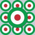 20 Aufkleber 4cm Sticker sign Italien Italy Target Mod Scooter Vespa Roller Helm