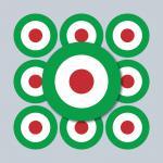 10 Aufkleber 3cm Sticker sign Italien Italy Target Mod Scooter Vespa Roller Helm