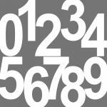 Set 0-9 weiß 24cm Ziffer Ziffern Zahl Zahlen Nummern Aufkleber Tattoo die cut