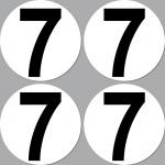 4 Aufkleber 10cm rund Startnummer 7 Racing Motorrad Motocross Auto Nummerierung