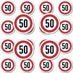 20 Stück Modellbau Aufkleber Sticker Symbol Schild Geschwindigkeit 50kmh km/h