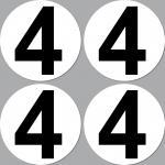 4 Aufkleber Startnummer 4 rund 10cm Racing Motorrad Motocross Auto Nummerierung