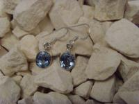 Blautopas-Ohrhänger 925er Silber ovale-Form