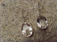 Bergkristall-Ohrhänger 925er Silber ovale Form