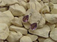 Amethyst-Ohrhänger 925er Silber Tropfen-Form