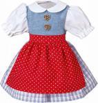 Käthe Kruse 33994 - Puppen Bekleidung - Dirndl karo, Schürze, 39-41 cm, rot