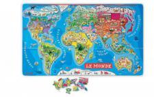 JANOD 05500 - Magnet-Puzzle Weltkarte Französisch (92 Teile)