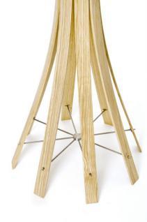 Garderobenständer aus Holz massiv und Edelstahl, moderne Garderobe mit Hacken aus Edelstahl, Ø 58 cm - Vorschau 3