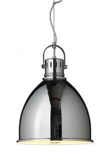 Pendelleuchte, moderne Hängelampe mit einem verchromten Lampenschirm, Ø 35 cm